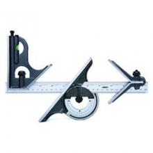 "Insize Combination Square Set <br> Blade Range: 12"" <br> Blade Graduation: 1/8"" and 1/16"" on front face, 1/32"" and 1/64"" on back face <br> <ul> <li>Center Head: To locate center of cylinder with diameter 1.181"" - 3.937"".  Accuracy: &plusmn;.006"" </li> <li>Protractor Head: To set the blade at desired angle to an edge of a workpiece, and can be used to measure angles. Range: 0-180&deg; . Accuracy: &plusmn;7min.</li> <li>Square Head: To set the blade at 90&deg; or 45&deg; to an edge of a workpiece. Accuracy: &"